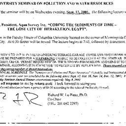Announcements, 2001-09-12. ...