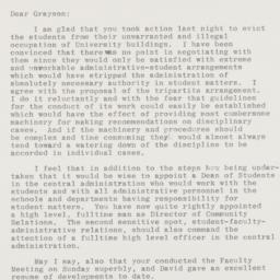 Letter from Andrew Cordier ...