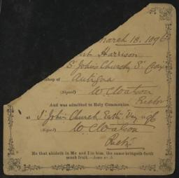 Certificate of baptism and admission to holy communion for Hubert Harrison, 18 March 1896 : autograph document, signed