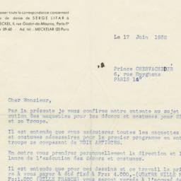 Letter from Serge Lifar to ...