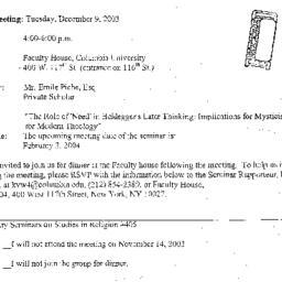 Announcements, 2003-12-03. ...