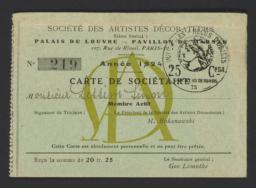 Société des Artistes Décorateurs : Carte de Sociétaire