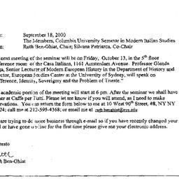 Announcements, 2000-10-13. ...