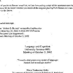Announcements, 2002-10-03. ...