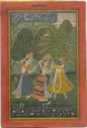 Krishna in a Garden with Two Women