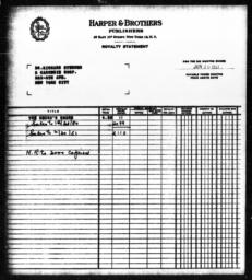 Royalty statement from Harper & Brothers to Richard Sterner for THE NEGRO'S SHARE, June 30, 1951