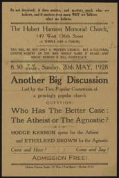 Hubert Harrison Memorial Church, 20 May 1928 : broadside