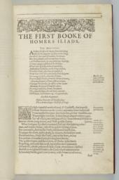 Folio B1r. The First Booke of Homer's Iliads