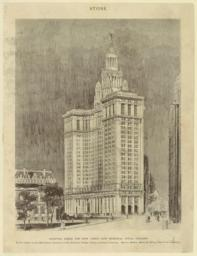 Accepted design for New York's new Municipal Office Building to be located at the Manhattan Terminal of the Brooklyn Bridge. From architects' drawing. Messrs. McKim, Mead & White, New York, architects