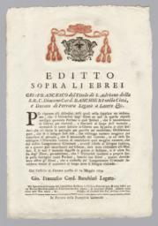 Editto Sopra Li Ebrei Gio: Francesco del Titolo di S.Adriano della S.R.C. Diacono Card. Banchieri nella Città...