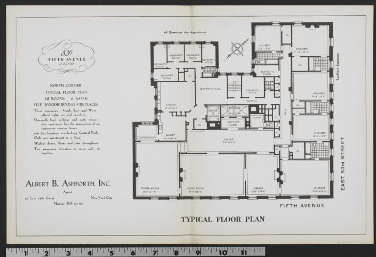 820 Fifth Avenue Typical Floor Plan Columbia Digital Library – 820 Fifth Avenue Floor Plan