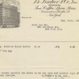 B. Fischer & Co. Inc. Bill ...