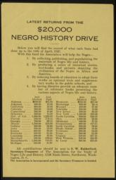 Latest Returns From The $20,000 Negro History Drive, 14 April 1927 : broadside
