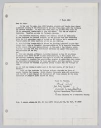 Letter from Rudd and Freudenberg to President Kirk, dated 27 March 1968