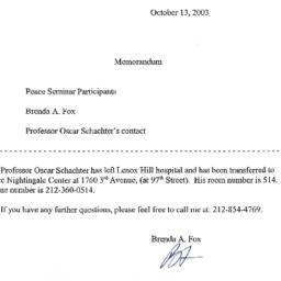 Correspondence, 2003-10-13....