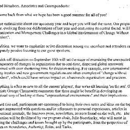 Announcements, 2001-09-10. ...