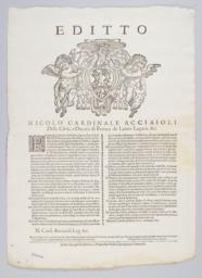 Editto Nicolo Cardinale Acciaioli della Città, e Ducato di Ferrara de Latere Legato, &c