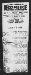 Article regarding upcoming Carnegie-Myrdal Study publications, ARKANSAS DEMOCRAT, June 13, 1943