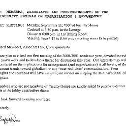 Announcements, 2000-09-11. ...
