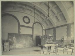 [Boston Public Library, interior with barrel vaulted ceiling and mural]