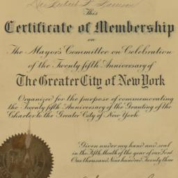 Certificate of Membership, ...
