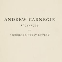 Andrew Carnegie: 1835-1935....