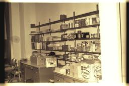 Books and food on shelf