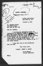 Letter from Robert G. Hawley of Harper & Brothers to Abraham Flexner, October 9, 1950