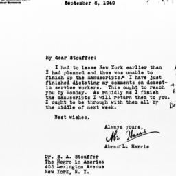 Letter from Abram L. Harris...