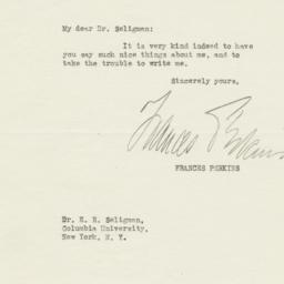 Letter from Frances Perkins...