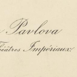 Anna Pavlova, Artiste des T...
