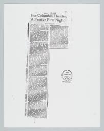 """""""For Columbia Theater, A Festive First Night"""", Article in the New York Times, September 17, 1988."""
