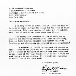 Letter from Rupert B. Vance...