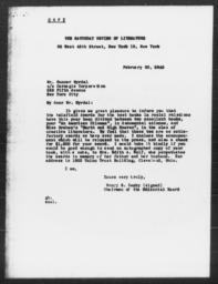 Letter from Henry S. Canby to Gunnar Myrdal, February 20, 1945