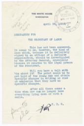 President Franklin Delano Roosevelt letter to Frances Perkins about United American Mechanics State Council of Maryland