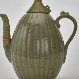 Celadon melon-shaped ewer a...