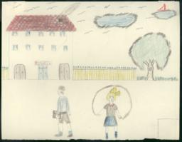 I Have Drawn A School And Two Children Going To School, A Girl And A Boy;  The Girl Is Jumping And The Boy Is Carrying His Schoolbag.