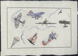 Black Ink And Watercolor Depiction Of An Air Combat: Four Black Planes (panzers) - One In Flames, Three Blue With Red Stripes (moscas) And One Parachute