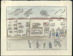 This Drawing Is Of A Day When I Went To The Breadline, And Since There Were Many People I Began To Skip Rope With My Friends.
