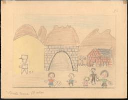 My sister Antonia, my brother Antonio, my sister Anita, my father, the customs-guard, and I when we arrived at Cerbère.