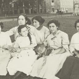 Six Young Women Sitting on ...