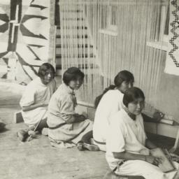 Girls Weaving Navajo Rugs a...