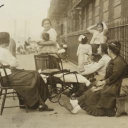 Women and Children on Sidewalk