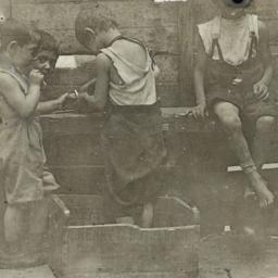 Four Boys near Wooden Fence