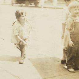 Children on Sidewalk, Horse...