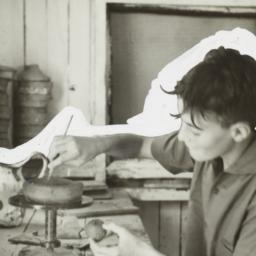 Boy Using a Pottery Wheel