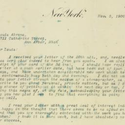 Letter: 1906 November 5