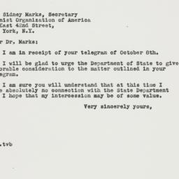 Letter: 1946 October 19
