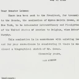 Letter: 1952 May 1