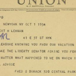 Telegram : 1954 October 1